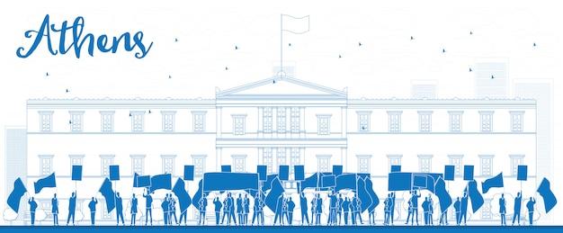 Grieks protest voor het griekse parlement in athene, griekenland