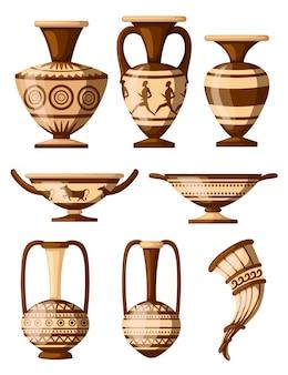 Griekse aardewerk icoon collectie. amfora met patronen, rhyton, kylix. griekse of romeinse cultuur. bruine kleur en patronen. illustratie op witte achtergrond.
