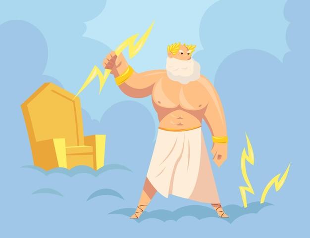 Griekse god zeus werpt bliksemschichten uit de hemel