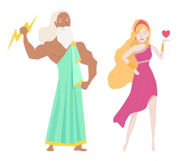 Griekse goden van liefde mooie vrouw in roze jurk man standing
