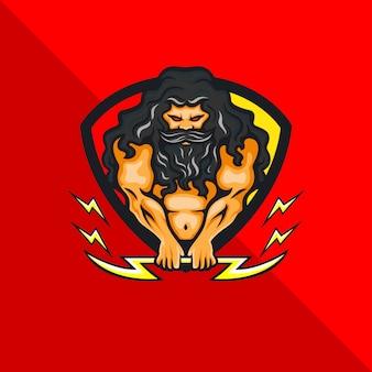 Griekse mythologie zeus god stripfiguur mascotte holding thunder, gaming-logo