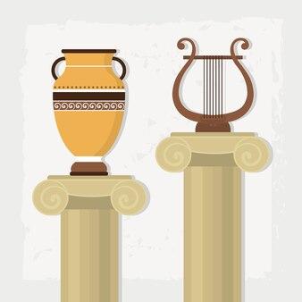 Griekse pilaren illustratie