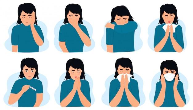 Griep en verkoudheid. coronavirus, covid-19 meisje met koorts, loopneus, hoest, hoofdpijn. het kind niest, zet een beschermend medisch masker op