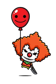 Griezelig clown karakter vector ontwerp