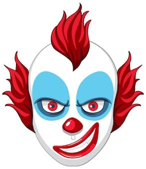 Griezelig clowngezicht op witte achtergrond
