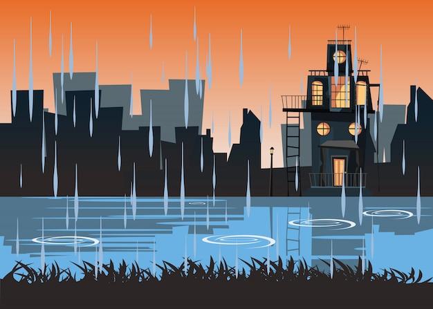 Griezelig gehuisvest bij rivieroever vectorillustratie