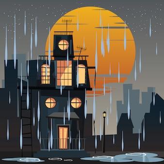 Griezelig gehuisvest in regenachtige dag vectorillustratie