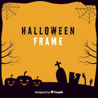 Griezelig halloween-frame met plat ontwerp