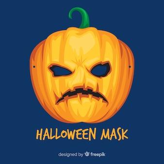 Griezelig halloween-masker met vlak ontwerp