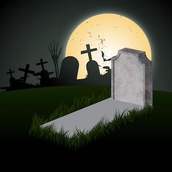 Griezelig halloween met graf en maan