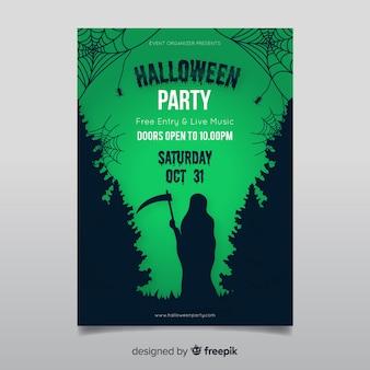 Griezelig halloween party poster sjabloon met platte ontwerp