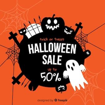 Griezelig halloween-verkoop plat ontwerp