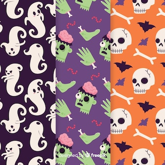 Griezelig hand getrokken halloween-patroon