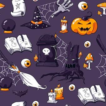 Griezelig naadloos halloween-krabbelpatroon met magische dingen
