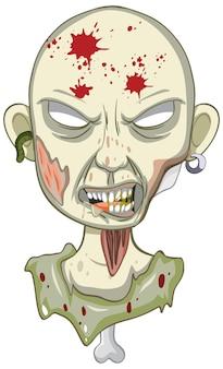 Griezelig zombiegezicht op witte achtergrond