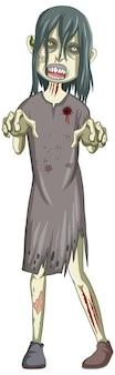 Griezelig zombiekarakter op witte achtergrond