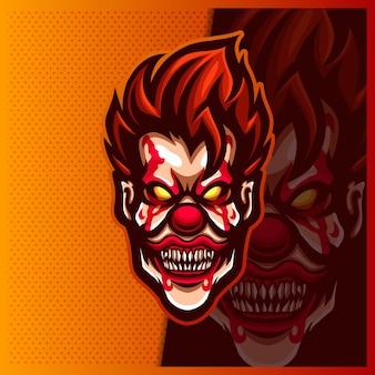 Griezelige clown head mascotte esport logo ontwerp illustraties sjabloon, creepy smile logo