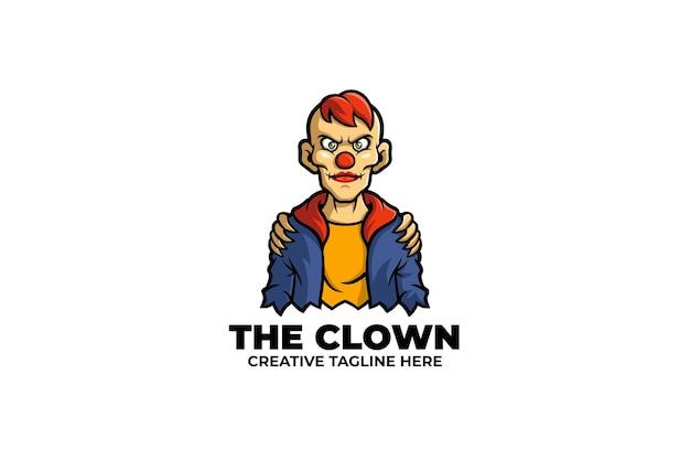 Griezelige clown man mascotte logo