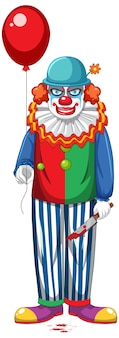 Griezelige clown met ballon op witte achtergrond