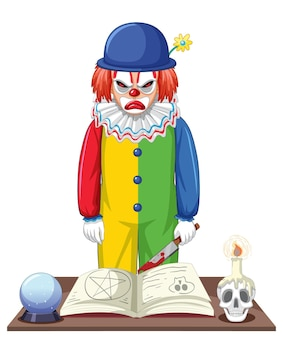 Griezelige clown stripfiguur op witte achtergrond