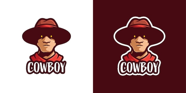 Griezelige cowboy mascotte karakter logo sjabloon