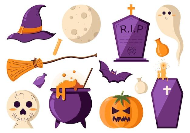 Griezelige eenvoudige set voor een halloween-feest in een platte stijl