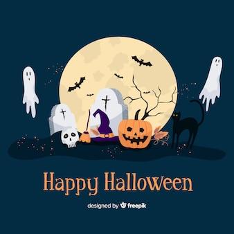 Griezelige halloween-achtergrond in vlak ontwerp