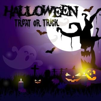 Griezelige halloween-achtergrond met pompoenen in een begraafplaats