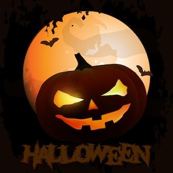 Griezelige halloween-achtergrond met pompoenen