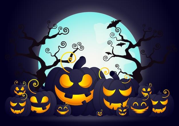 Griezelige halloween-achtergrond met pompoengezicht in begraafplaats.