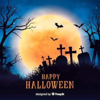 Griezelige Halloween-achtergrond met realistisch ontwerp