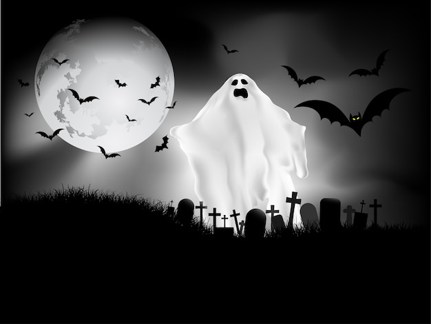 Griezelige halloween-achtergrond met spook op het kerkhof