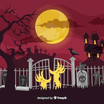 Griezelige halloween-achtergrond met vlak ontwerp