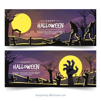 Griezelige halloween-banners met vlak ontwerp
