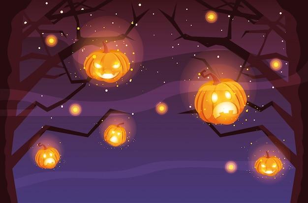 Griezelige halloween-boom met pompoenen in scène van halloween