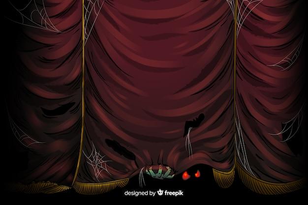 Griezelige halloween courtain achtergrond