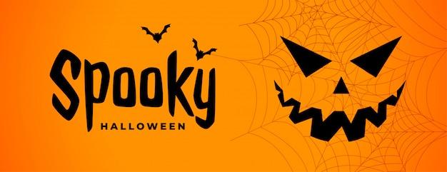 Griezelige halloween enge banner met spookgezicht