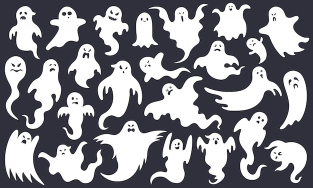 Griezelige halloween-geest. enge spookkarakters, vliegen grappig spook, schattige lachende halloween-spookmascottes illustratie set. halloween-spook witte, griezelige cartoon poltergeist