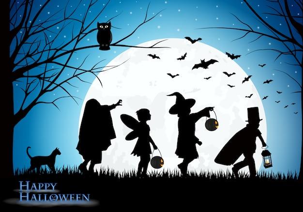 Griezelige halloween-illustratie met vermomde kinderen