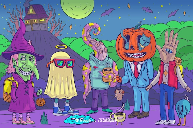 Griezelige halloween-illustratie van wezens