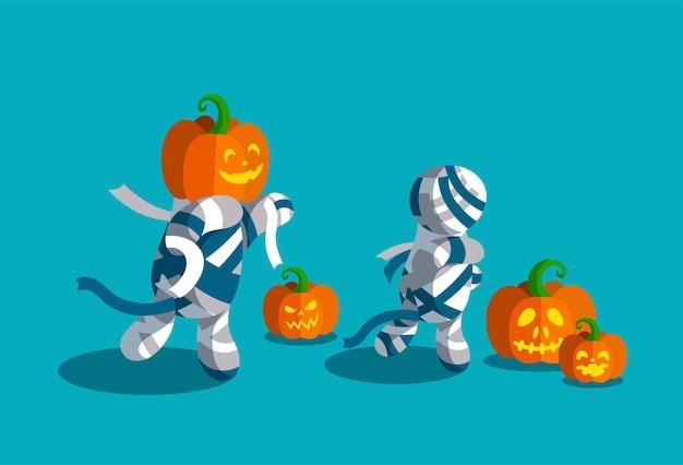Griezelige halloween-mummies met wapperende banden. diverse gesneden pompoenen. vectorillustratie voor halloween-feest.