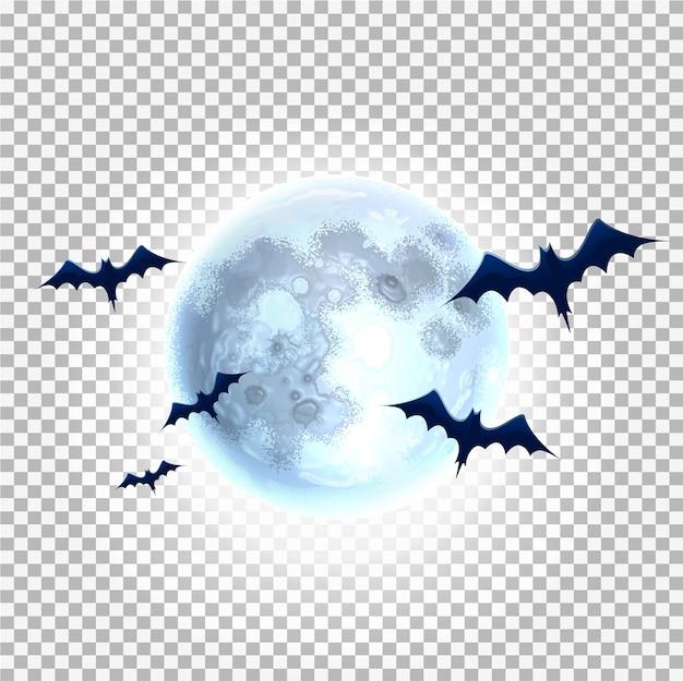 Griezelige halloween-objecten op transparante achtergrond. realistische enge vleermuizen op volle maan achtergrond.