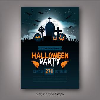 Griezelige halloween-partijaffiche met realistisch ontwerp