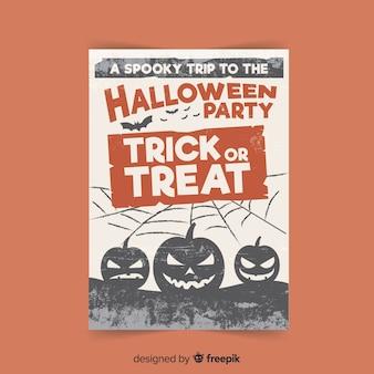 Griezelige halloween-partijaffiche met vlak ontwerp