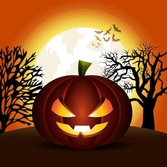 Griezelige halloween-pompoen in backlit maannacht