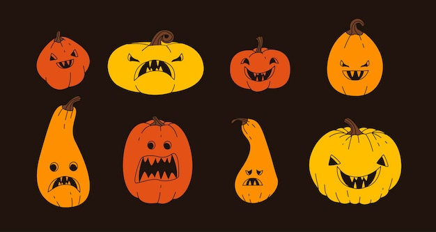 Griezelige halloween-pompoenset in plat ontwerp
