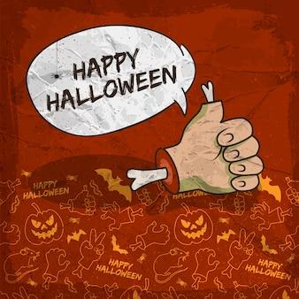 Griezelige halloween-poster met de zombiearm van de toespraakwolk en de traditionele achtergrond van lijnpictogrammen