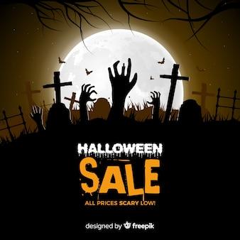 Griezelige halloween-verkoopsamenstelling met realistisch ontwerp