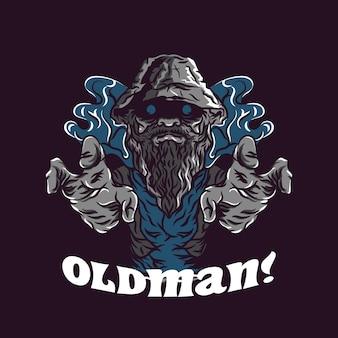 Griezelige oude man illustratie