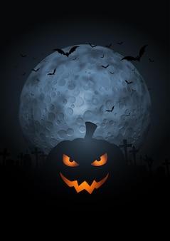 Griezelige pompoen halloween-achtergrond met maan en vleermuizen